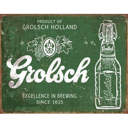 Grolsch Beer - Excellence Tin Sign - 16x12.5 (Beer Sign Wood)