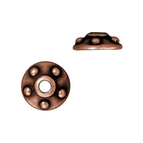 Antiqued Copper Plated Lead-Free Pewter Rivet Bead Cap 11mm (2)