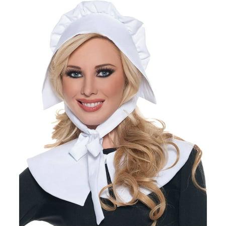 Pilgrim Bonnet and Collar Adult Halloween Accessory - Pilgrim Bonnet