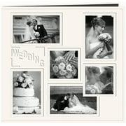 "Sewn Embossed Collage Frame Post Bound Album 12""X12""-Wedding - White"