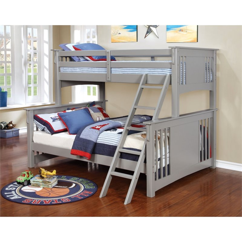 Furniture Of America Landry Twin Over Full Bunk Bed In Gray   Walmart.com