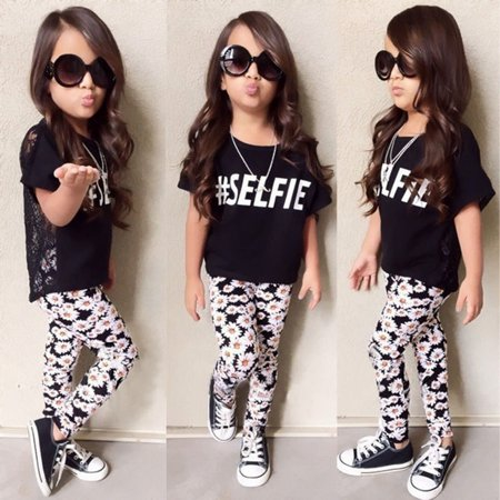 Flower Baby Girls Kids Summer Clothes Lace Tops Floral Pants Outfits Set - 40s Outfits