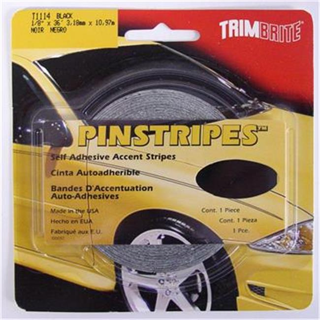 TRIMBRITE T1114 Pinstripe Tape, Black, 0.12 In. X 36 Ft.