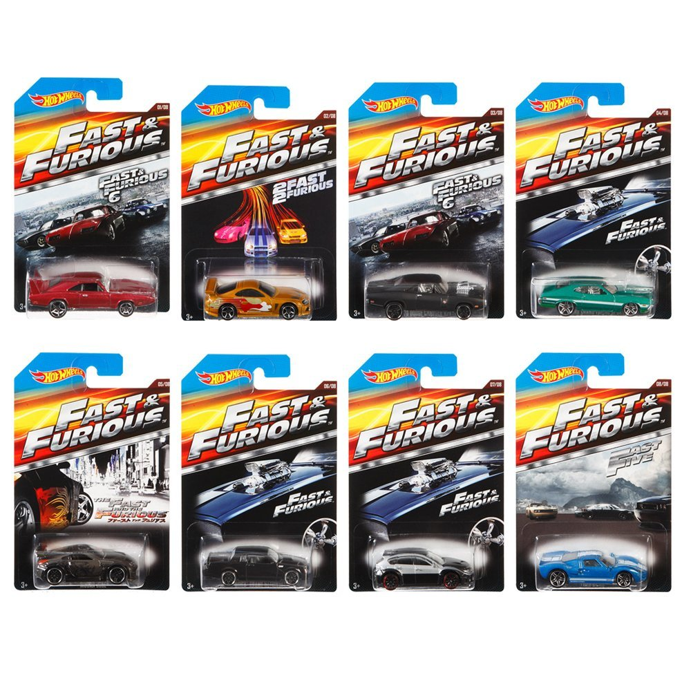 Fast and Furious Complete Set (set of 8) 1:64 Diecast Collection By Hot Wheels by