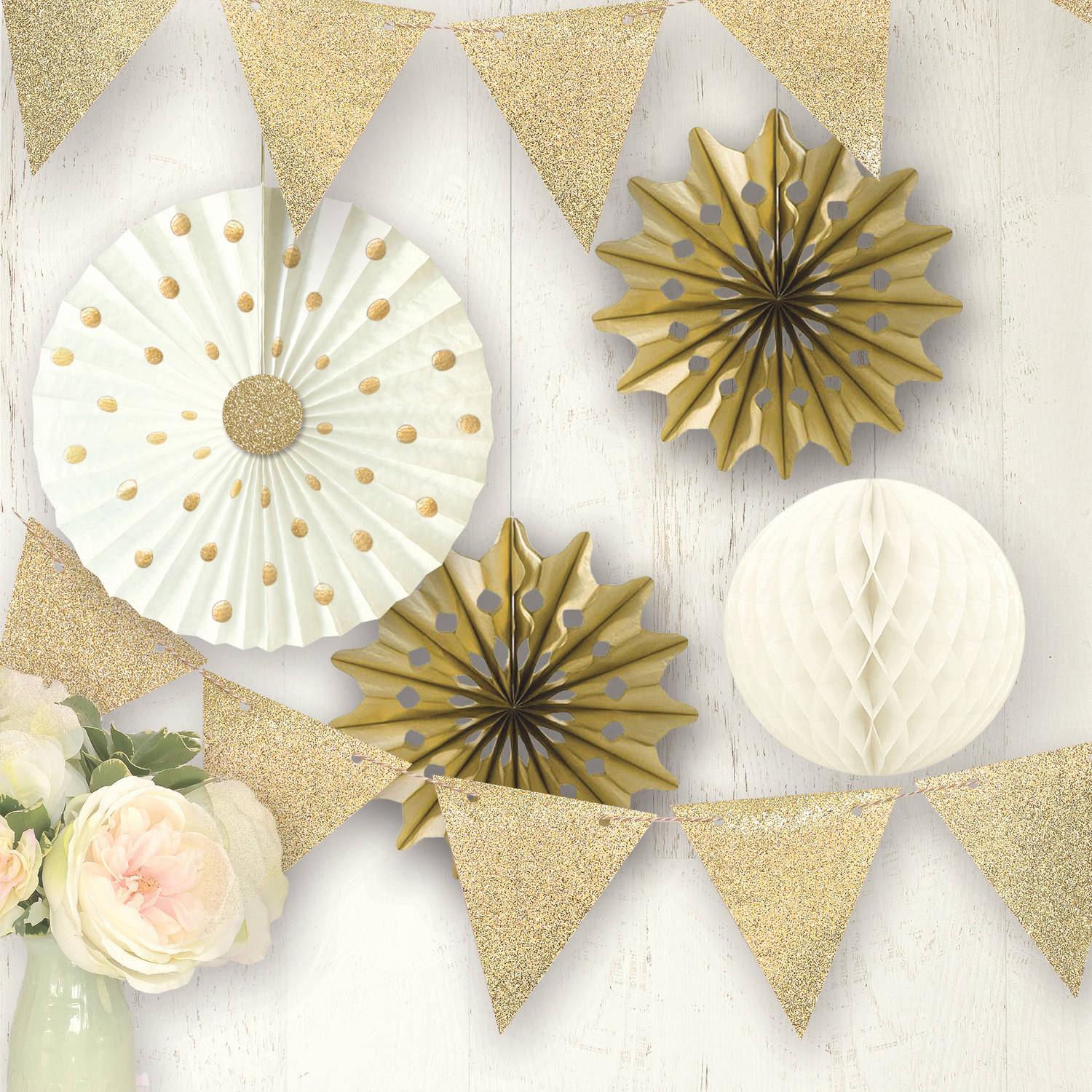 Way To Celebrate Gold Decor Kit 5 Count
