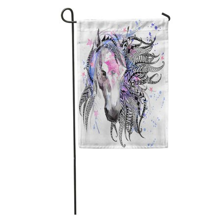 KDAGR Horse Head for Anti Stress Coloring Page Ethnic Tattoo Garden Flag Decorative Flag House Banner 12x18 -