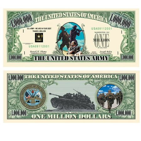 U.S. Army $Million Dollar$ Novelty Bill Collectible, SPECIAL NOVELTY DOLLAR BILL BANKNOTE - commemorating the United States Army. By American Art
