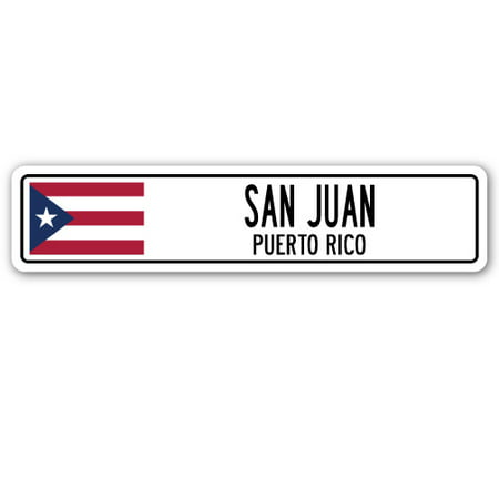 SAN JUAN, PUERTO RICO Street Sign Puerto Rican American flag city country