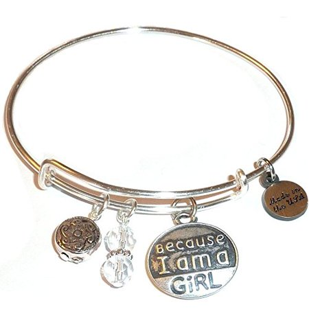 "Hidden Hollow Beads ""Because I am a Girl"" Message Charm Expandable Wire Bangle Bracelet, COMES IN A GIFT BOX!"