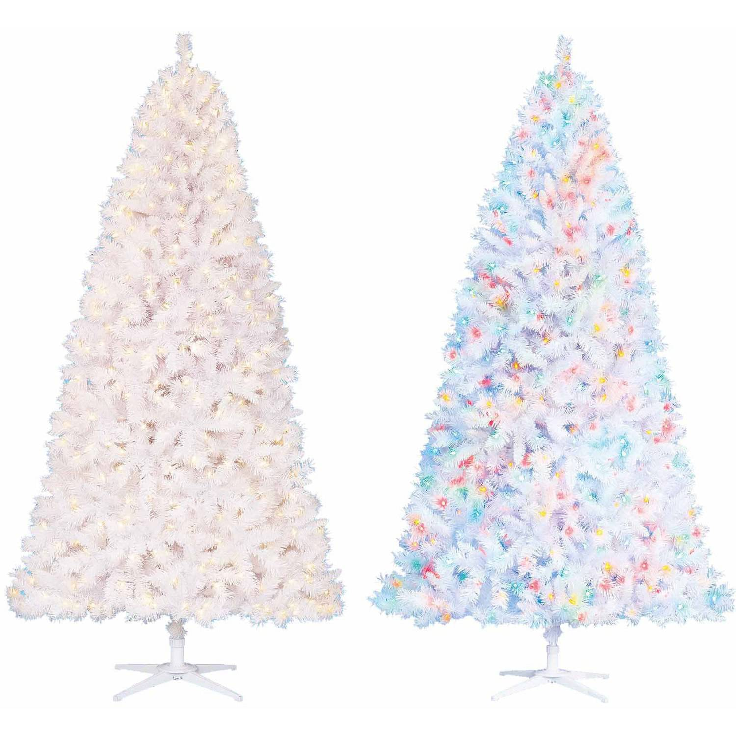 Cheap White Artificial Christmas Trees Part - 35: Holiday Time Prelit 75u0027 Berkshire Pine White Artificial Christmas Tree  Color Changing
