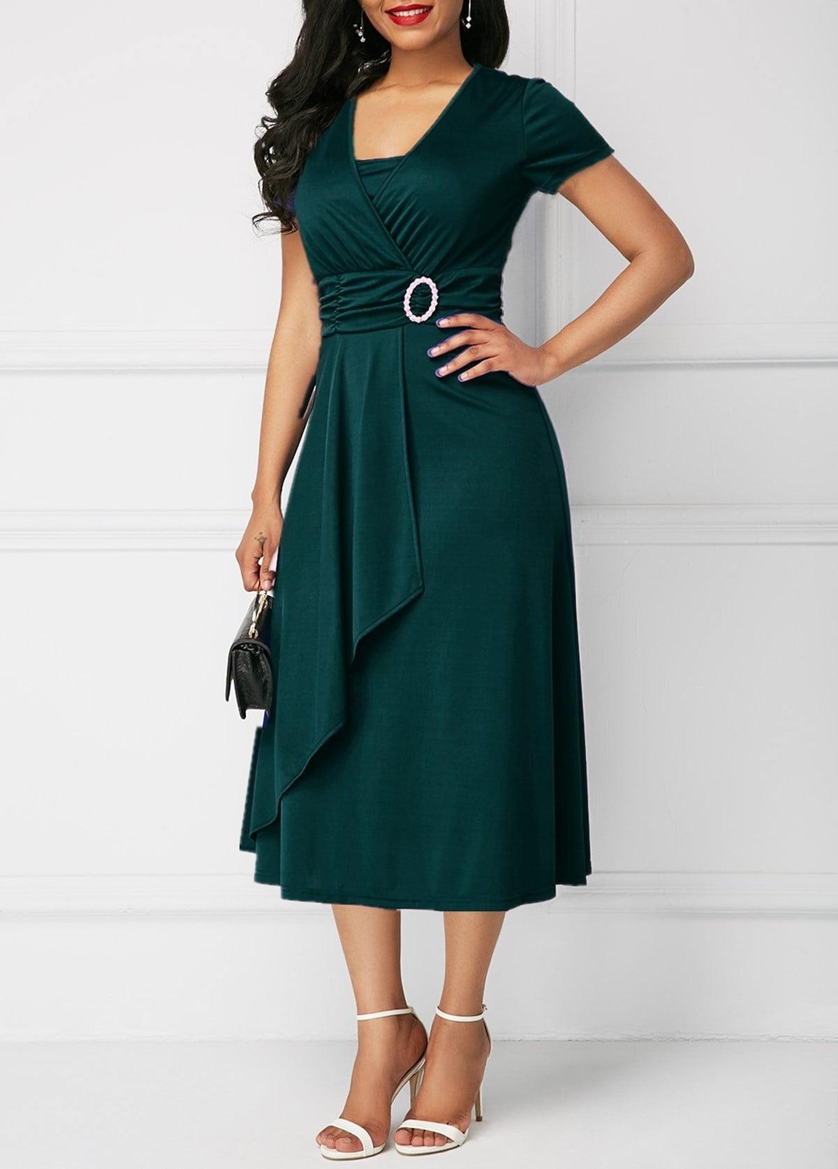 Summer Asymmetric Hem Dress Women High Waist Midi Dress