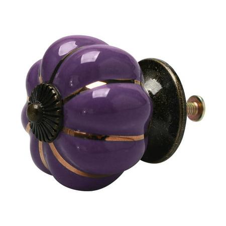 Ceramic Vintage Knob Pumpkin Pull Handle Cupboard Wardrobe Drawer Dresser Purple - image 8 de 8