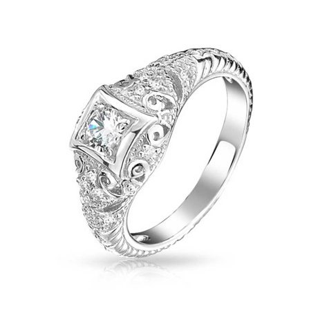 1CT Deco Style Square Bezel Solitaire Round AAA CZ Milgrain Engagement Ring For Women 925 Sterling Silver ()