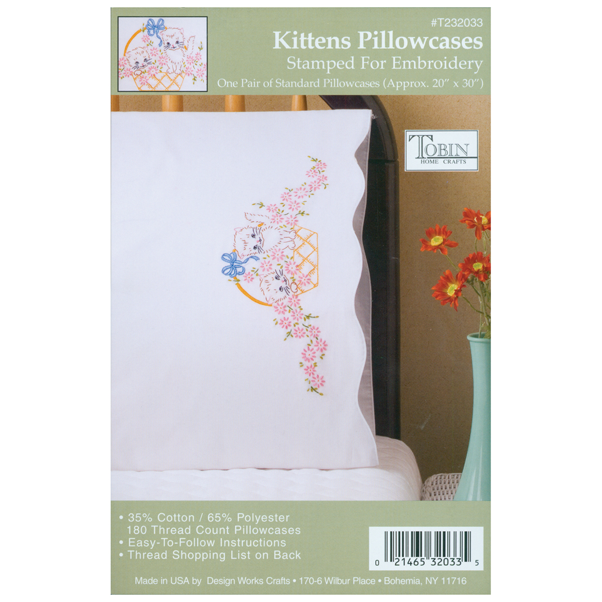 "Stamped Pillowcase Pair For Embroidery, Kittens, 20"" x 30"""