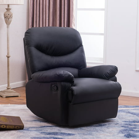 Belleze Recliner Chair Padded Seat Armrest Black Faux Leather w/ Footrest, -