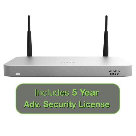 Cisco Meraki MX64W Wireless Firewall Security Bundle, 200Mbps FW, 5xGbE Ports - Includes 5 Years Advanced Security (Best Router Firewall 2019)