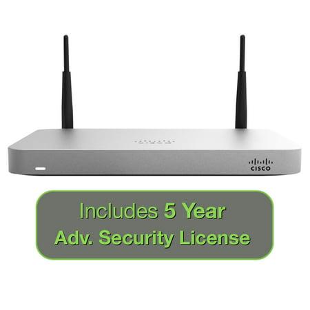 Cisco Meraki MX64W Wireless Firewall Security Bundle, 200Mbps FW, 5xGbE Ports - Includes 5 Years Advanced Security License