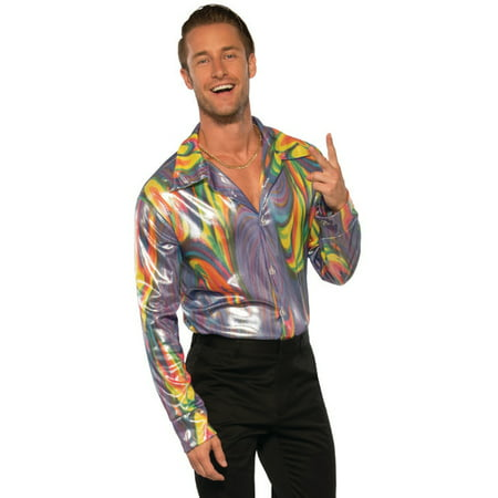 Men's 70s Dancing Fool Shiny Liquid Fusion Shirt Costume - 70s Men Costumes