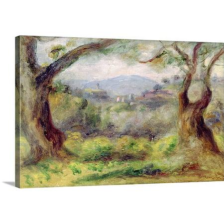 Great BIG Canvas Pierre Auguste Renoir Premium Thick-Wrap Canvas entitled Landscape at Les Collettes, 1910 (oil on canvas)