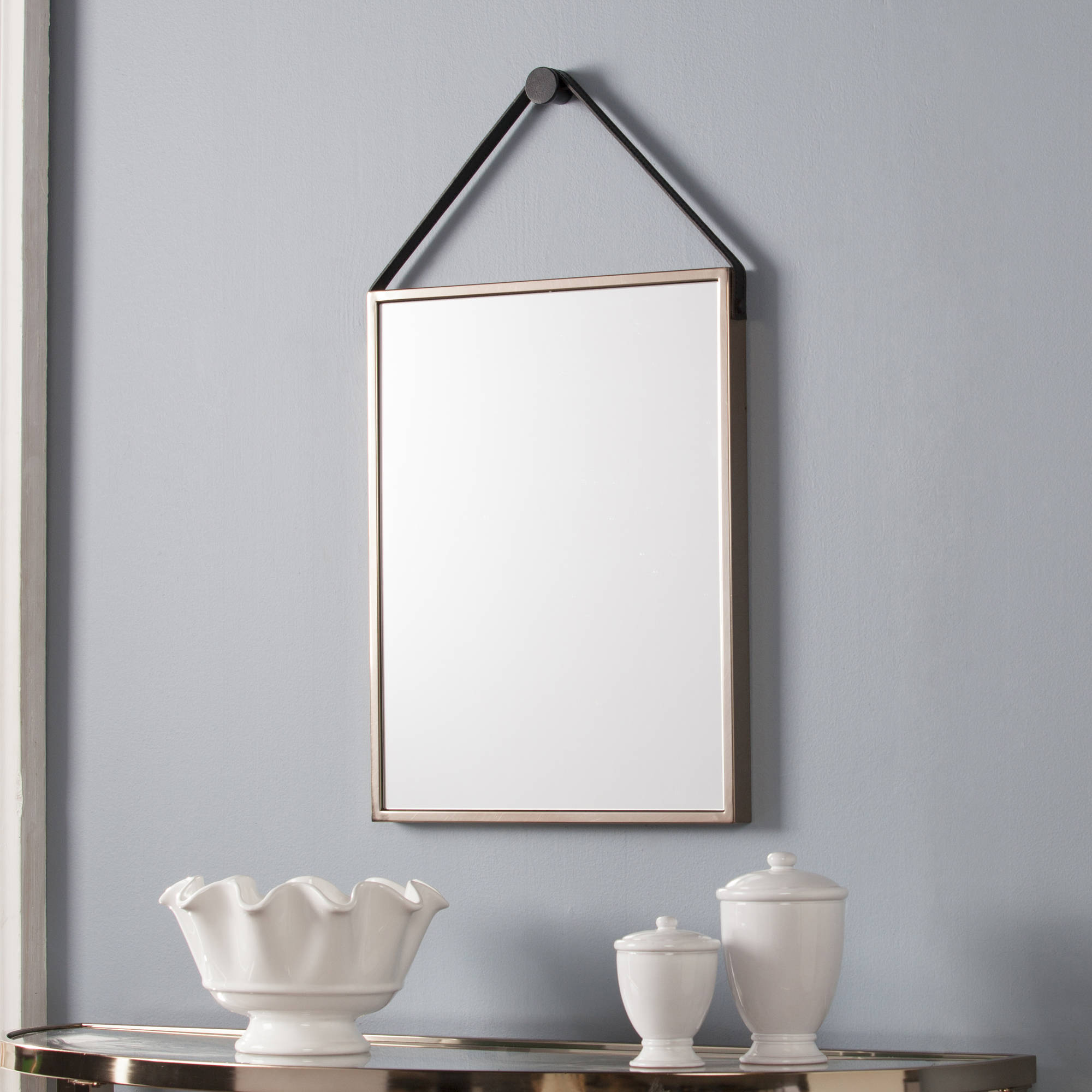 Southern Enterprises Leather Strap Rectangle Decorative Mirror, Champagne