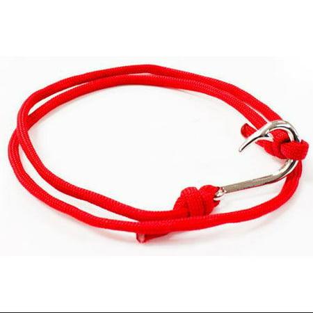 Unisex Handcrafted Adjustable Silver Sailor Fish Hook Bracelet Maritime -