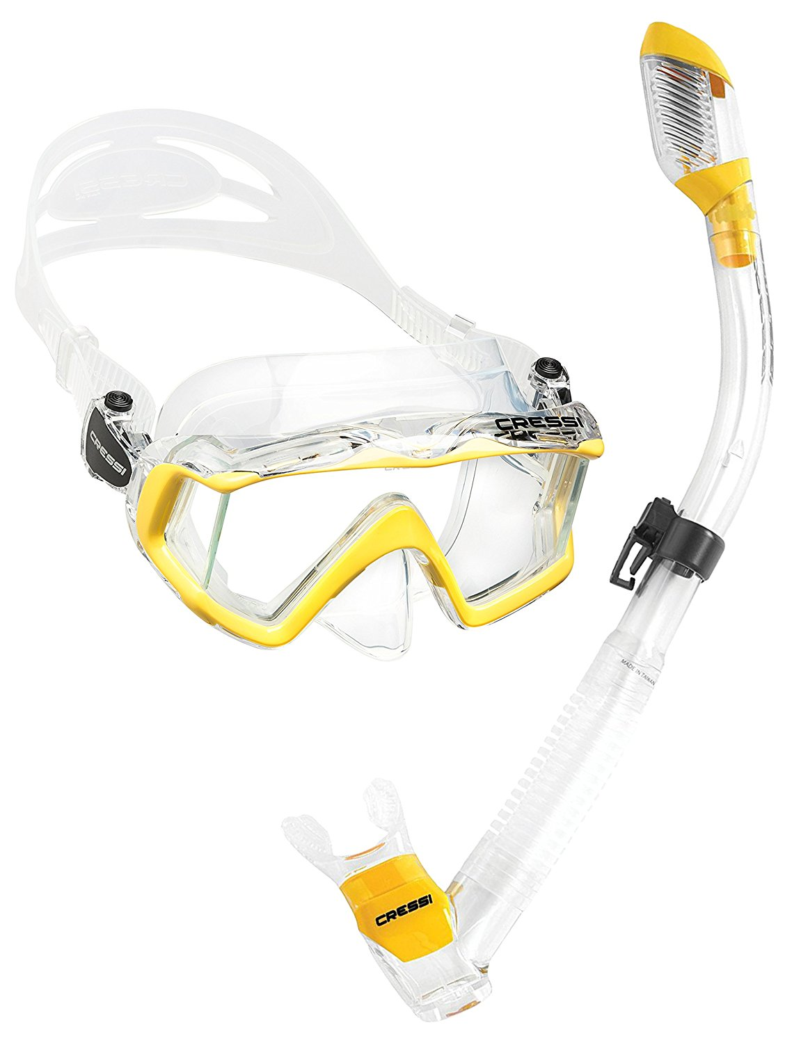 Cressi Panoramic Wide View 3 Panel Mask Dry Snorkel Set, Lime Green   Clear Silicone by Cressi