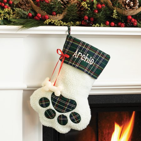 Personalized Sweet Dog Stocking---Green Plaid
