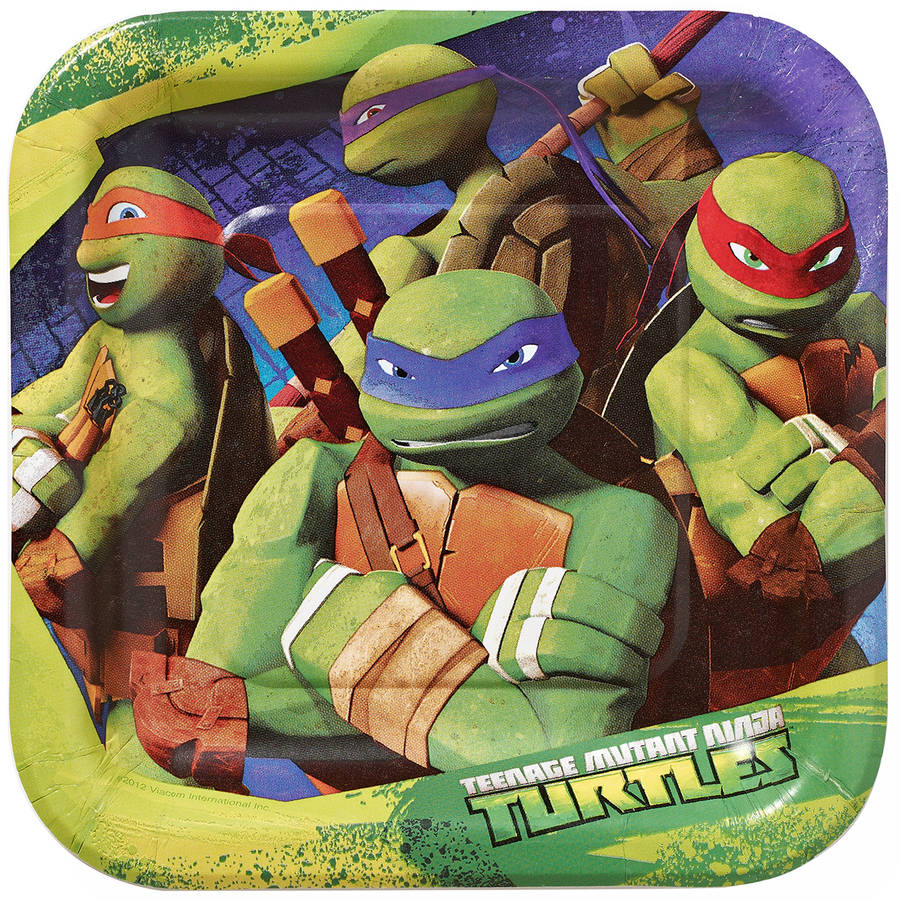 "Teenage Mutant Ninja Turtles 7"" Square Plates, 8 Count, Party Supplies"