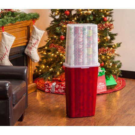 "IRIS 40"" Vertical Wrapping Paper Box, Red"
