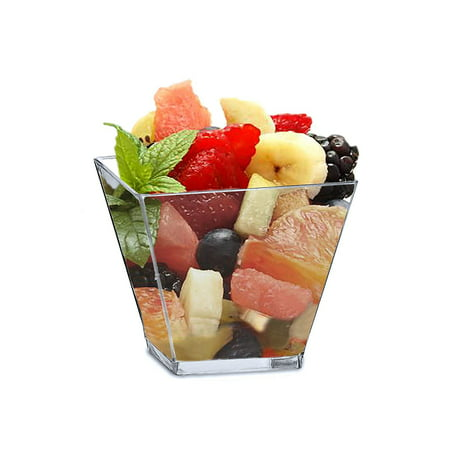 Mini 2 Ounce Square Dessert Cups. Pack Includes 50 Clear Plastic Appetizer / Dessert / Tasting - Easy Appetizers For Halloween Party