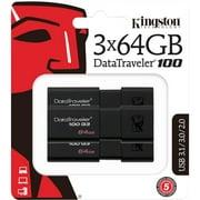 Kingston 64GB USB 3.0 Black DataTraveler 100 G3 3 Pack (DT100G3/64GB-3P)
