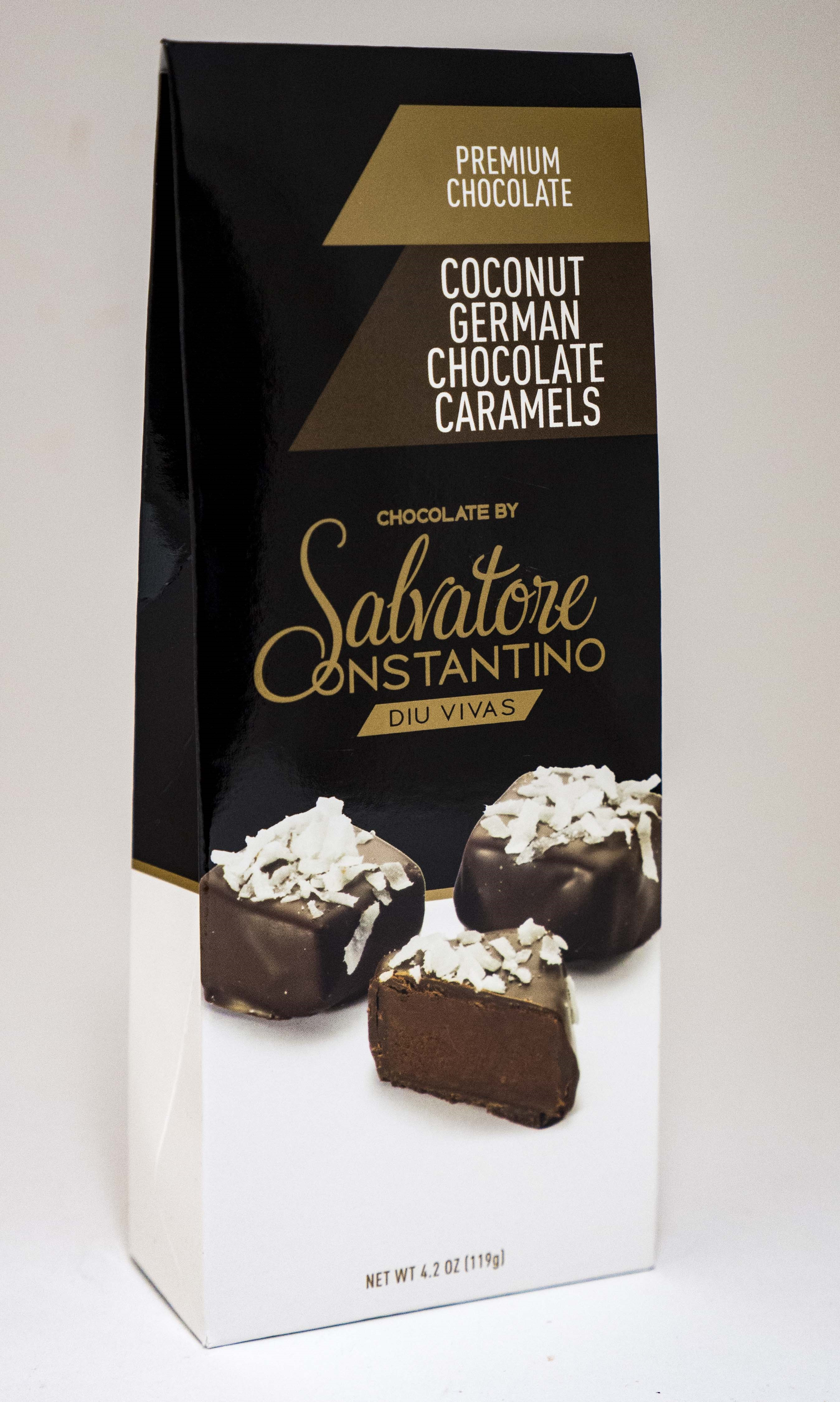 Salvatore Constantino Caramels, Coconut German Chocolate, 4.2 Oz by SSI G. Debbas Chocolatier, LLC