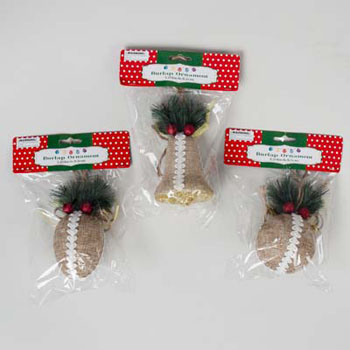 ORNAMENT BURLAP W/GREENS & TRIM 3AST BELL/CONE/BALL SHAPE 3.25IN, Case Pack of 48