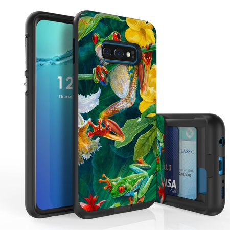 Galaxy S10e Case, Duo Shield Slim Wallet Case + Dual Layer Card Holder For Samsung Galaxy S10e [NOT S10 OR S10+] (Released 2019) Frogs Wild