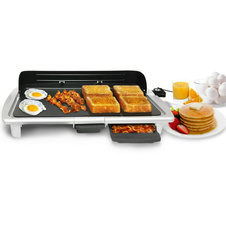 "Elite Gourmet EGR-2013SG 20"" x 10"" Electric Indoor Griddle with Warming Drawer and Backsplash, Silver"