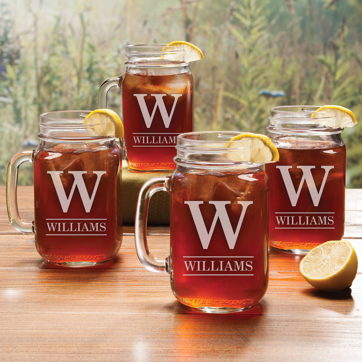 Personalized Thin Modern Font Initial & Name Set of 4 Mason Jar Glasses