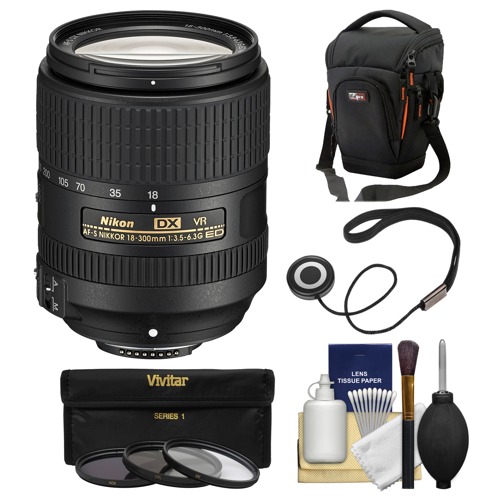 Nikon 18-300mm f/3.5-6.3G VR DX ED AF-S Nikkor-Zoom Lens with Case + 3 UV/CPL/ND8 Filters + Kit for D3200, D3300, D5300, D5500, D7100, D7200 Cameras