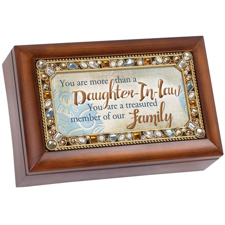 Music Treasure Box - Daughter In Law Treasured Family Jeweled Woodgrain Petite Music Box Plays You Light Up My Life, Featuring a jeweled border with woodgrain finish and sweet.., By Cottage Garden