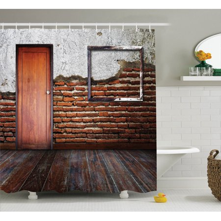 - Antique Decor Shower Curtain Set, Picture Frame Put On A Damaged Brick Wall In Aged Old Room Rustic Wooden Floor , Bathroom Accessories, 69W X 70L Inches, By Ambesonne