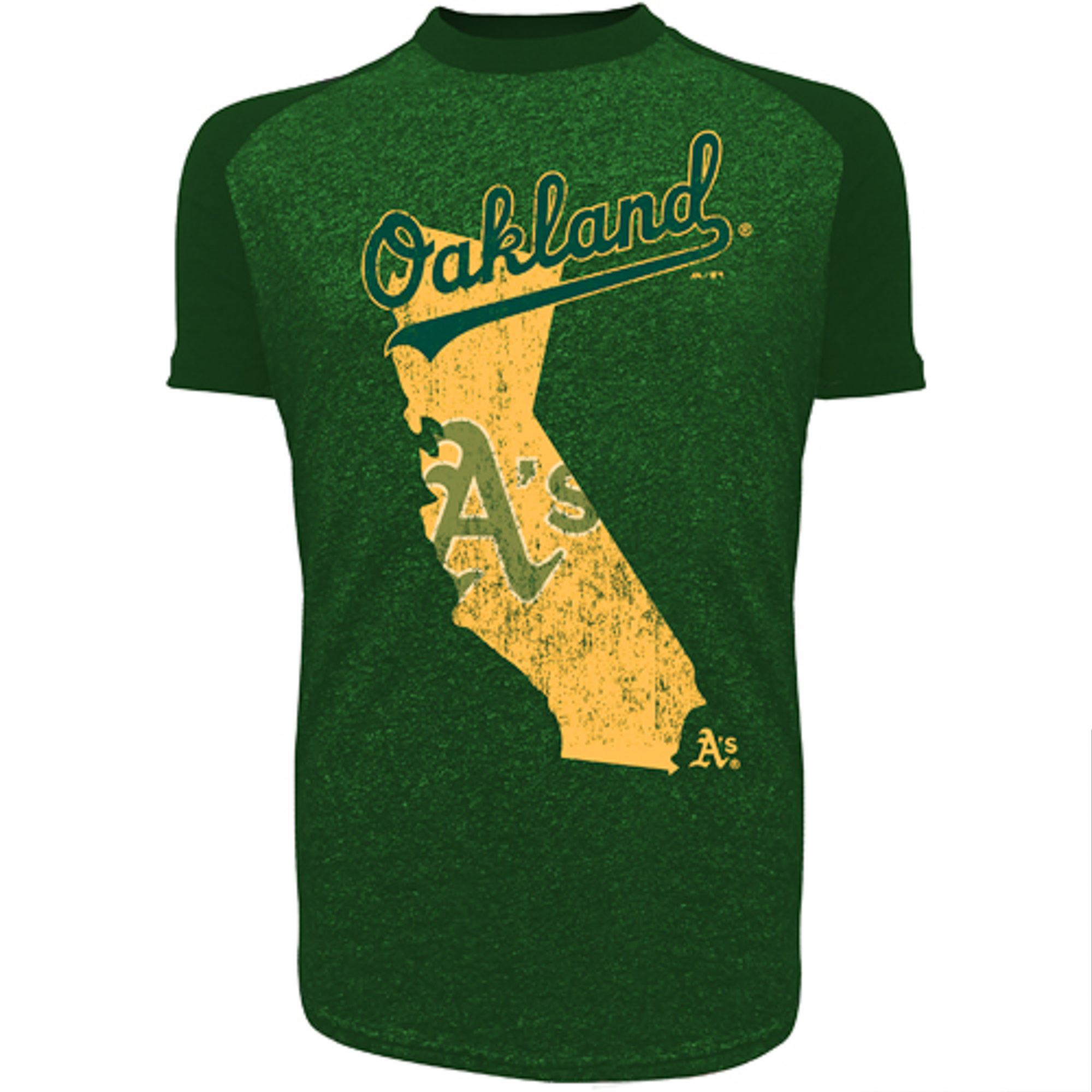 Oakland Athletics Majestic Threads Triblend State Raglan T-Shirt - Heather Green