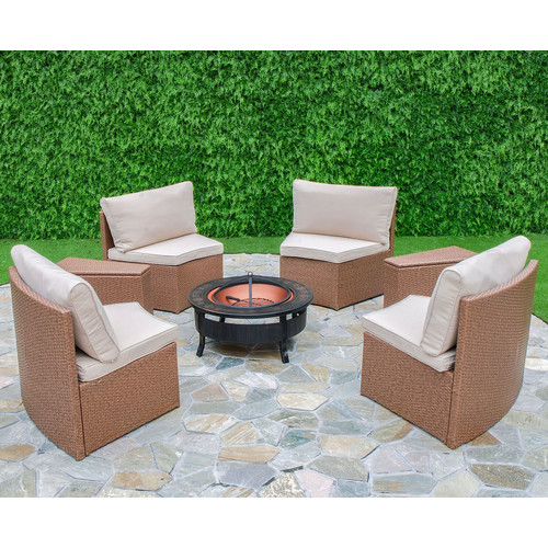 Creative Living Cedar Cove 6 Piece Curved Seating Group with Cushions