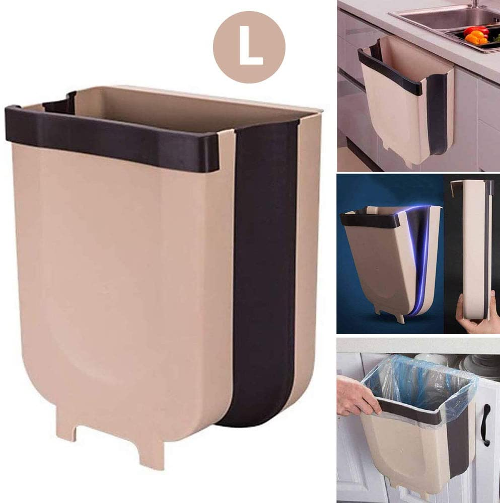 Kitchenmax Large Hanging Trash Can For Kitchen Cabinet Door Collapsible Trash Bin Small Compact Garbage Can Attached To Cabinet Door Kitchen Drawer Bedroom Dorm Room Car Waste Bin 9l Walmart Com