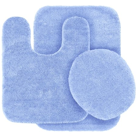 3 Pc Light Blue Bathroom Set Bath Mat Rug Contour And