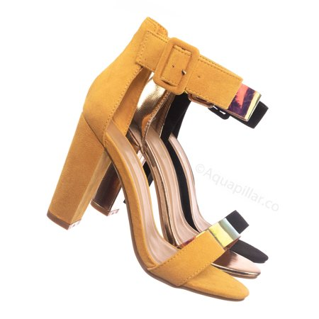 Classic High Heel Sandals - Mania16 by Bamboo, Classic Chunky Block High Heel Sandal - Women Ankle Strap Open Toe Shoe