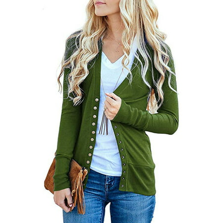 Women's V-Neck Button Down Knitwear Long Sleeve Soft Basic Knit Snap Cardigan Sweater (Two Button Knit)