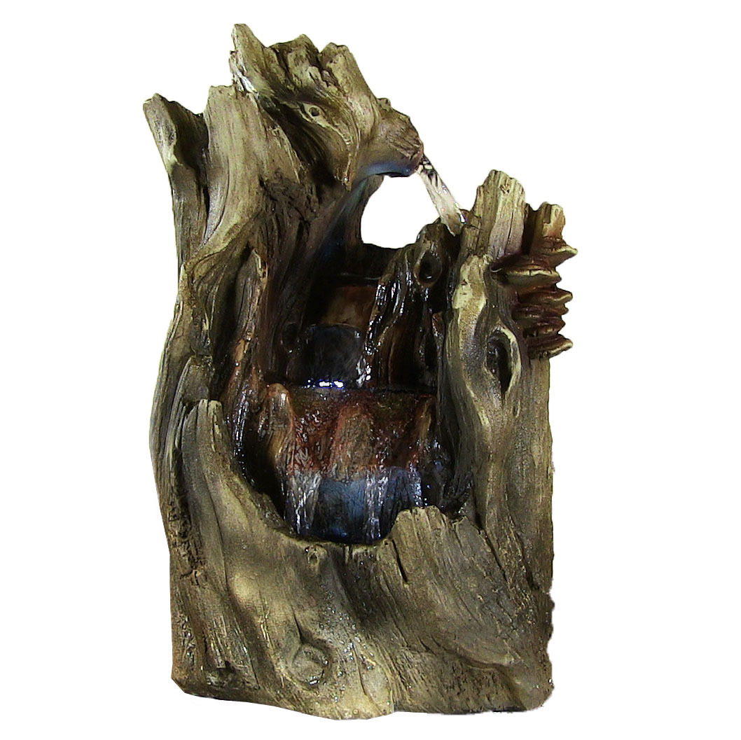 Sunnydaze Cascading Caves Waterfall Tabletop Fountain with LED Lights, 14 Inch Tall, Multi-Color