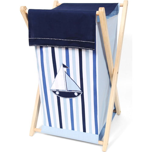Bacati Little Sailor Hamper with Cotton Percale cover, mesh liner and natural color Natural Color Wooden frame by
