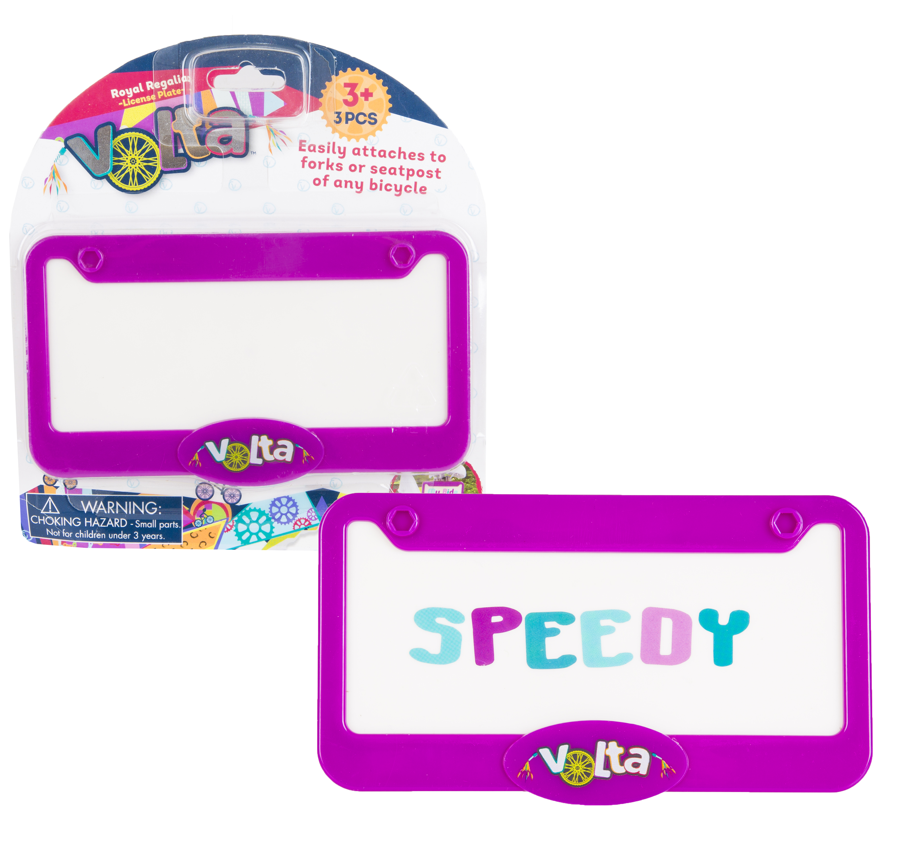 Customizable Children Bike License Plate - Compatible with Nearly All Bikes with 2 Sticker Sheets Purple