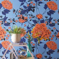 Orange and Blue Vintage Floral Peel and Stick Wallpaper by Drew Barrymore Flower Home