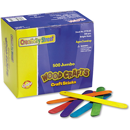 "Chenille Kraft Colored Wood Craft Sticks, Jumbo, 6"" x 3/4"", Assorted, 500/Box"